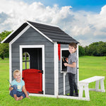 Kids Cubby House Outdoor Pretend Play Bench Wooden Playhouse Childrens