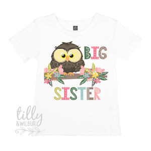 Big Sister Owl T-Shirt for Girls