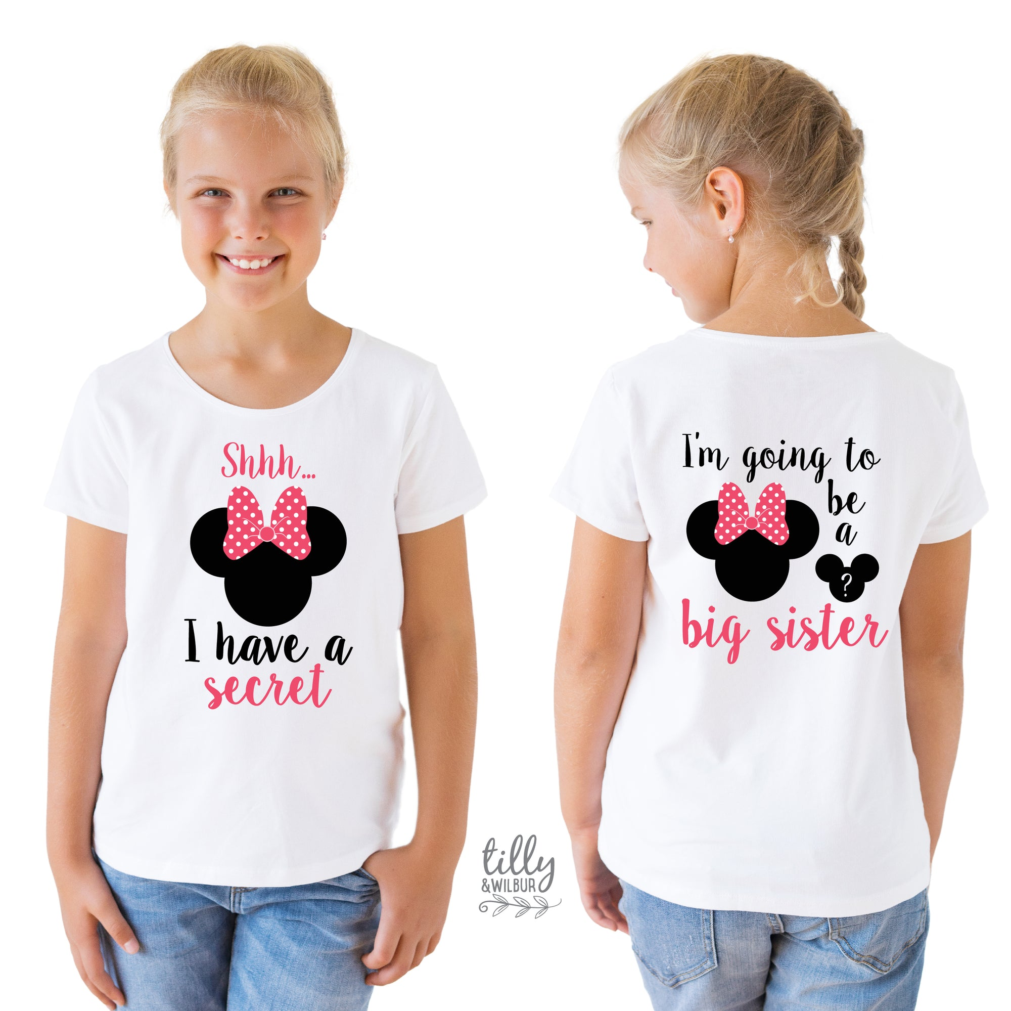 Shhh I Have A Secret, I'm Going To Be A Big Sister T-Shirt for Girls