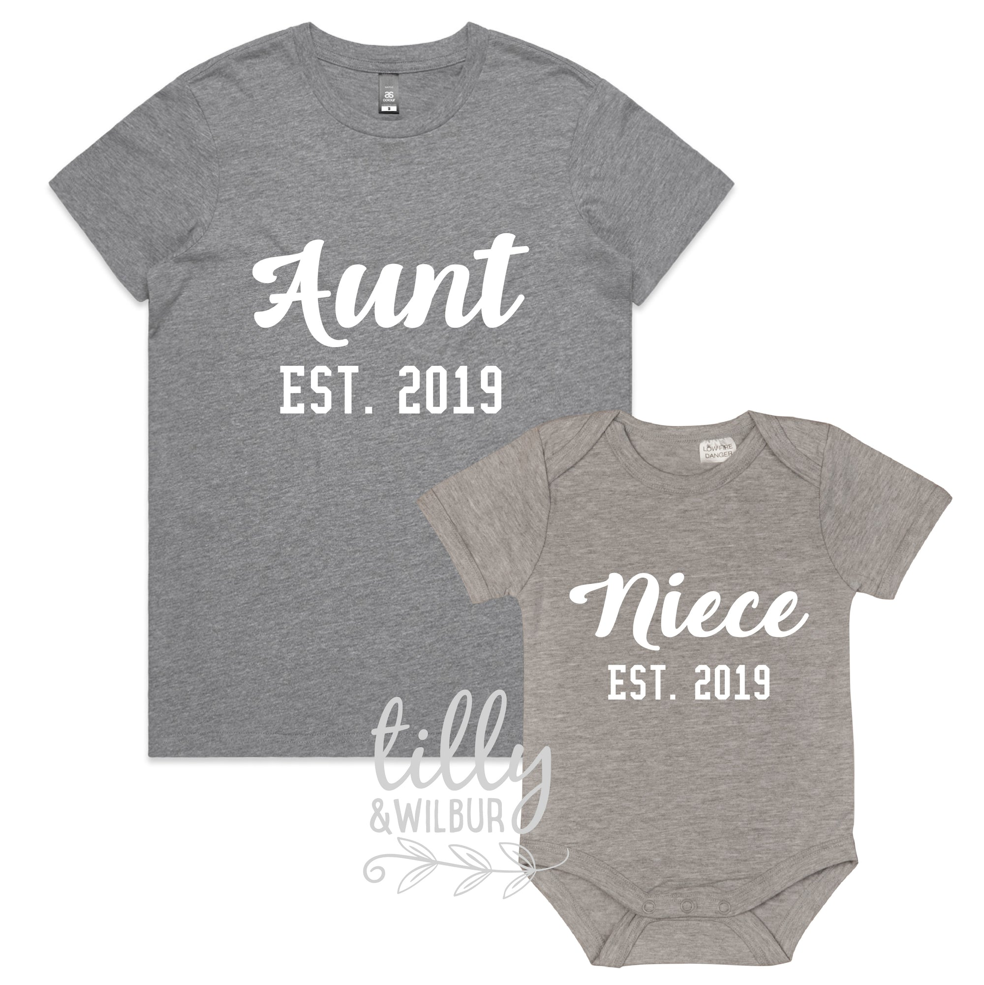 Personalised Aunt Est. & Niece Est. Matching Set