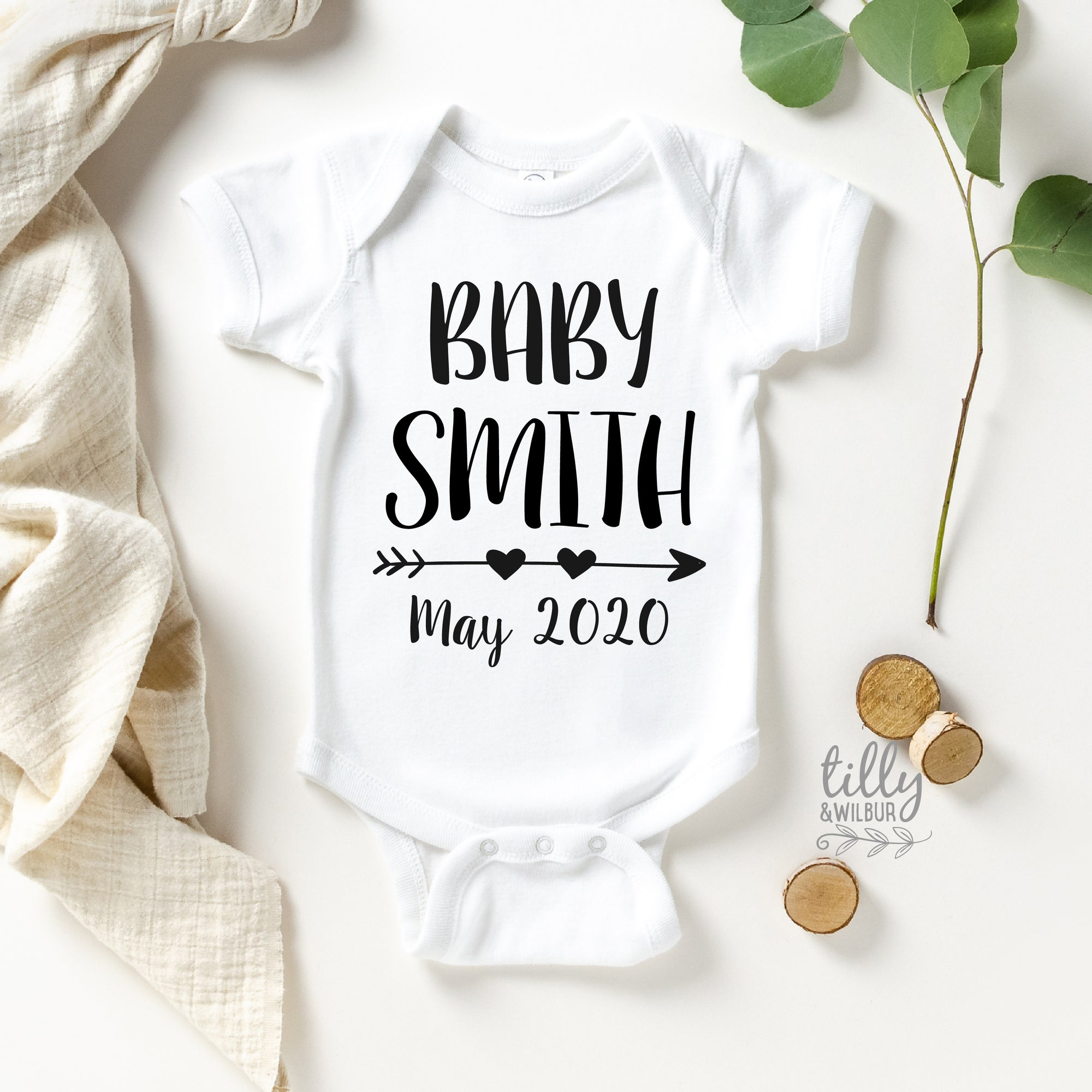 Pregnancy Announcement Bodysuit With Personalised Name And Due Date