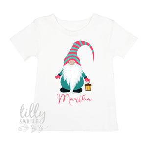 Personalised Christmas Gnome T-Shirt For Girls