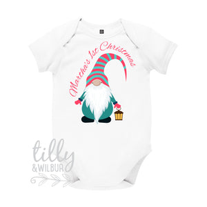 Personalised Girls 1st Christmas Gnome Bodysuit
