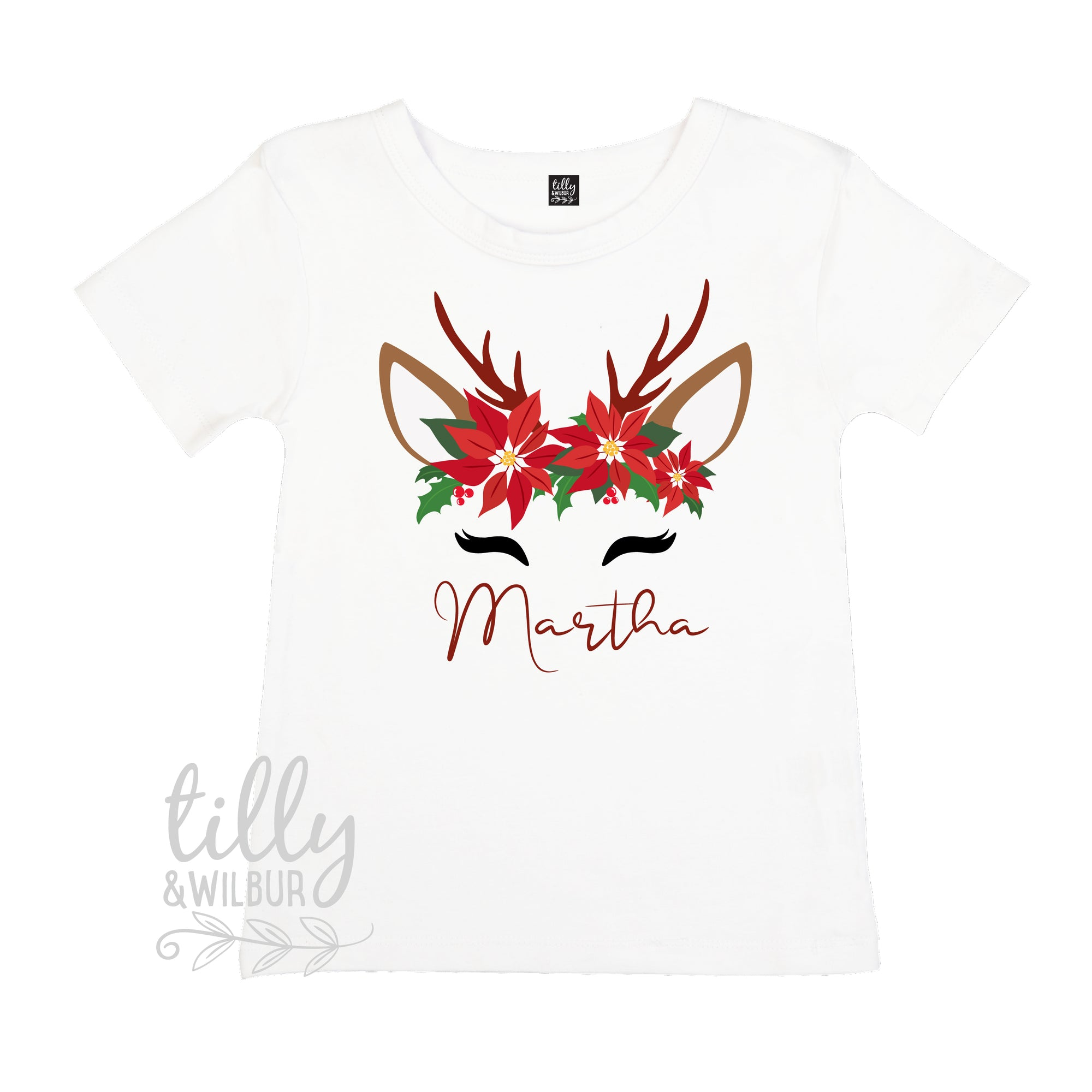 Personalised Poinsettia Reindeer T-Shirt For Girls