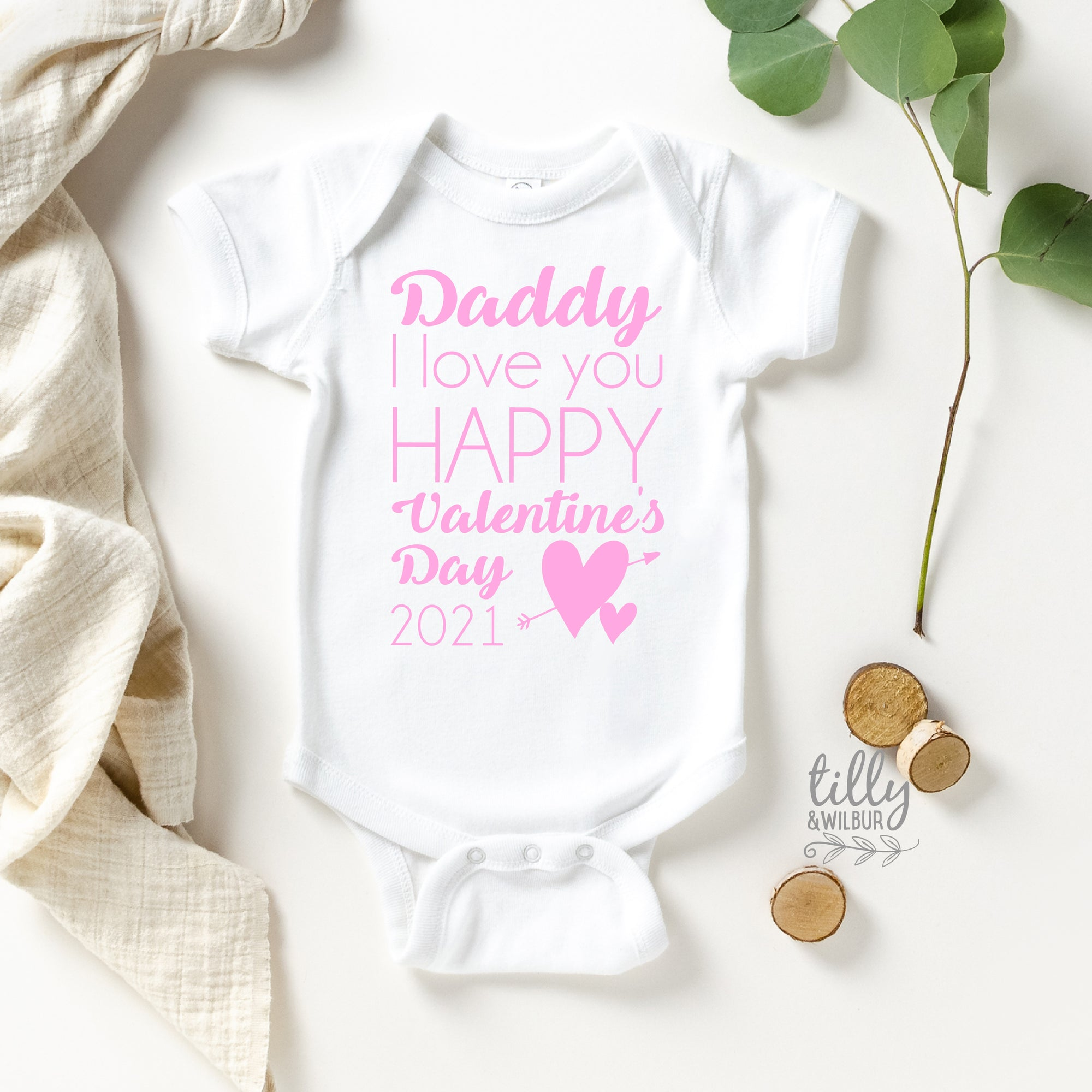 Daddy I Love You Happy Valentine's Day 2021 Baby Bodysuit