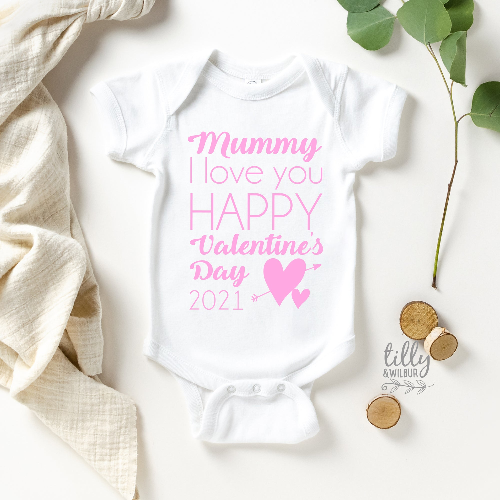 Mummy I Love You Happy Valentine's Day 2021 Baby Bodysuit
