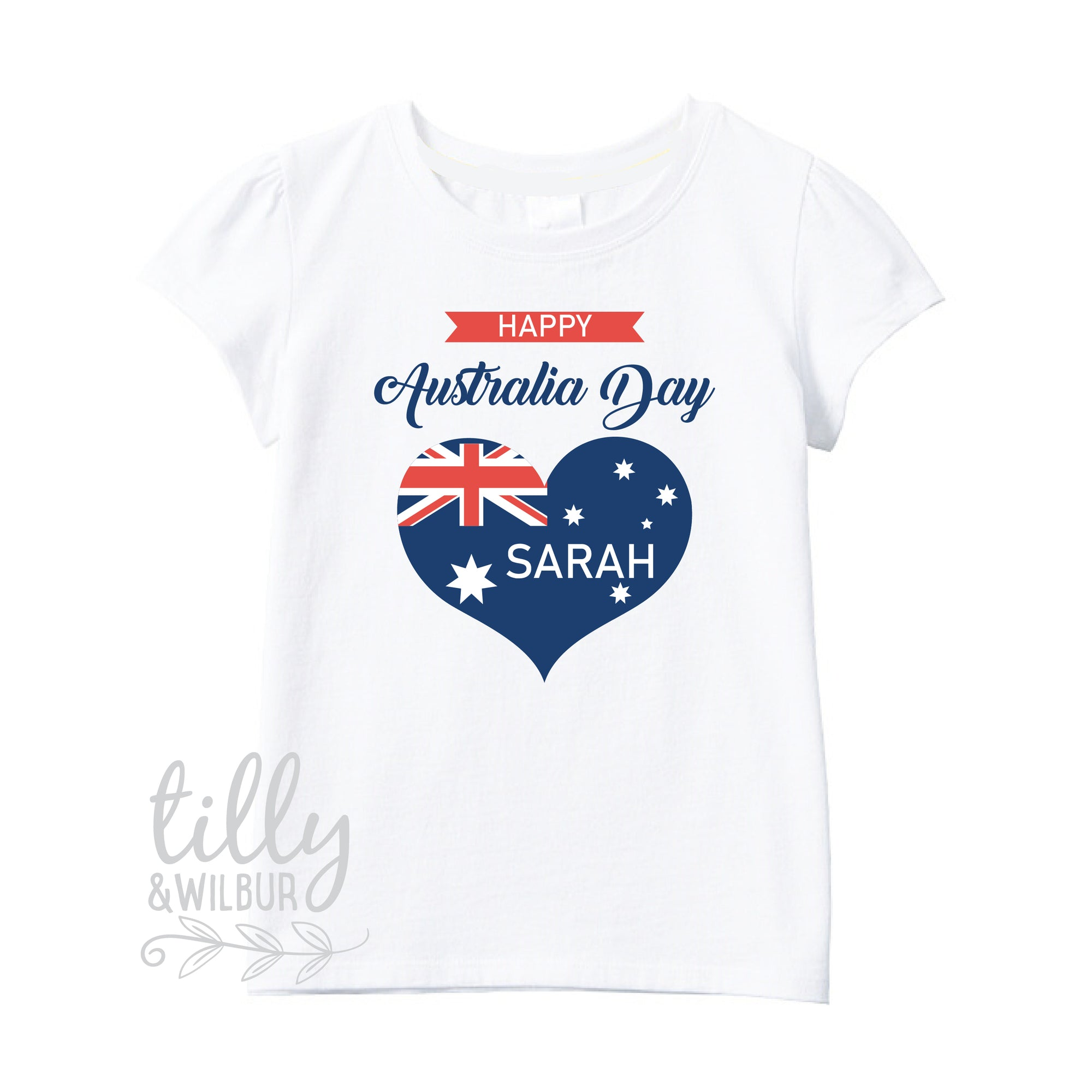 Personalised Happy Australia Day Girl's T-Shirt