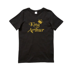 Personalised Boys T-Shirt With Childs Name, King Tee, Crown TShirt, Customized Boys Clothing, Black Short Sleeve Shirt With Gold Design