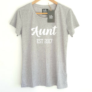 Personalised Aunt Est. T-Shirt, Pregnancy Announcement Shirt, I'm Going To Be An Aunty, Baby Shower Gift, Women's Clothing, Aunty, Auntie