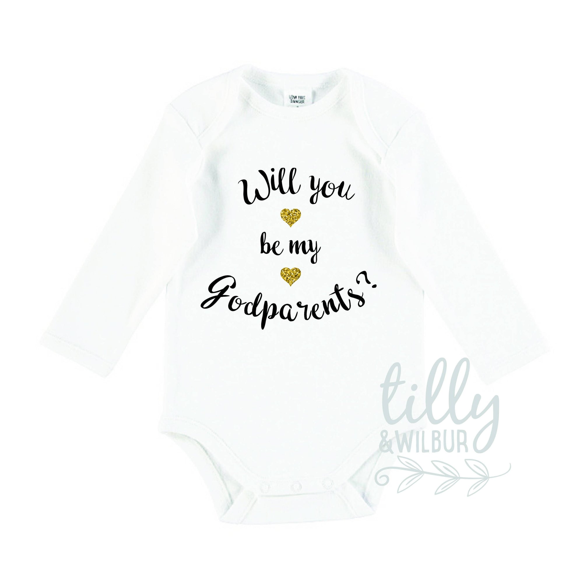 Will You Be My Godparents? Baby Bodysuit, Baptism Outfit, Godparents Bodysuit, Pregnancy Announcement Romper, Godparent Invitation, U-W-BS