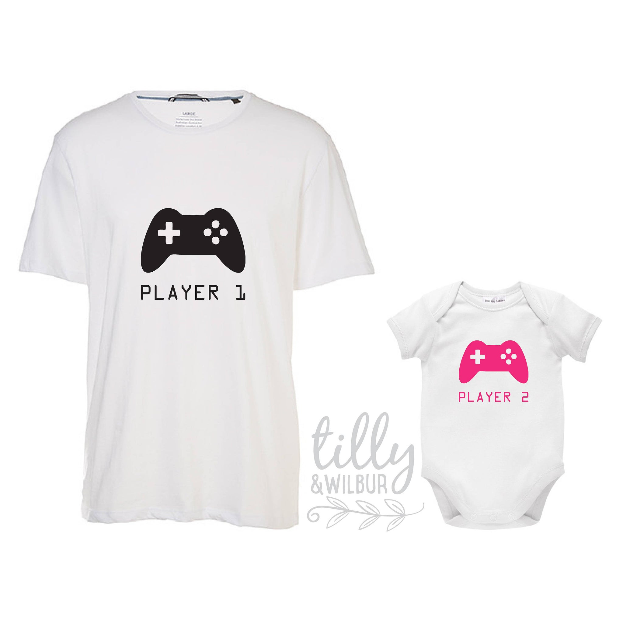 654a27fd9 Player 1 Player 2, Father Daughter Matching Shirts, Matching Dad Baby, Twin  Outfits