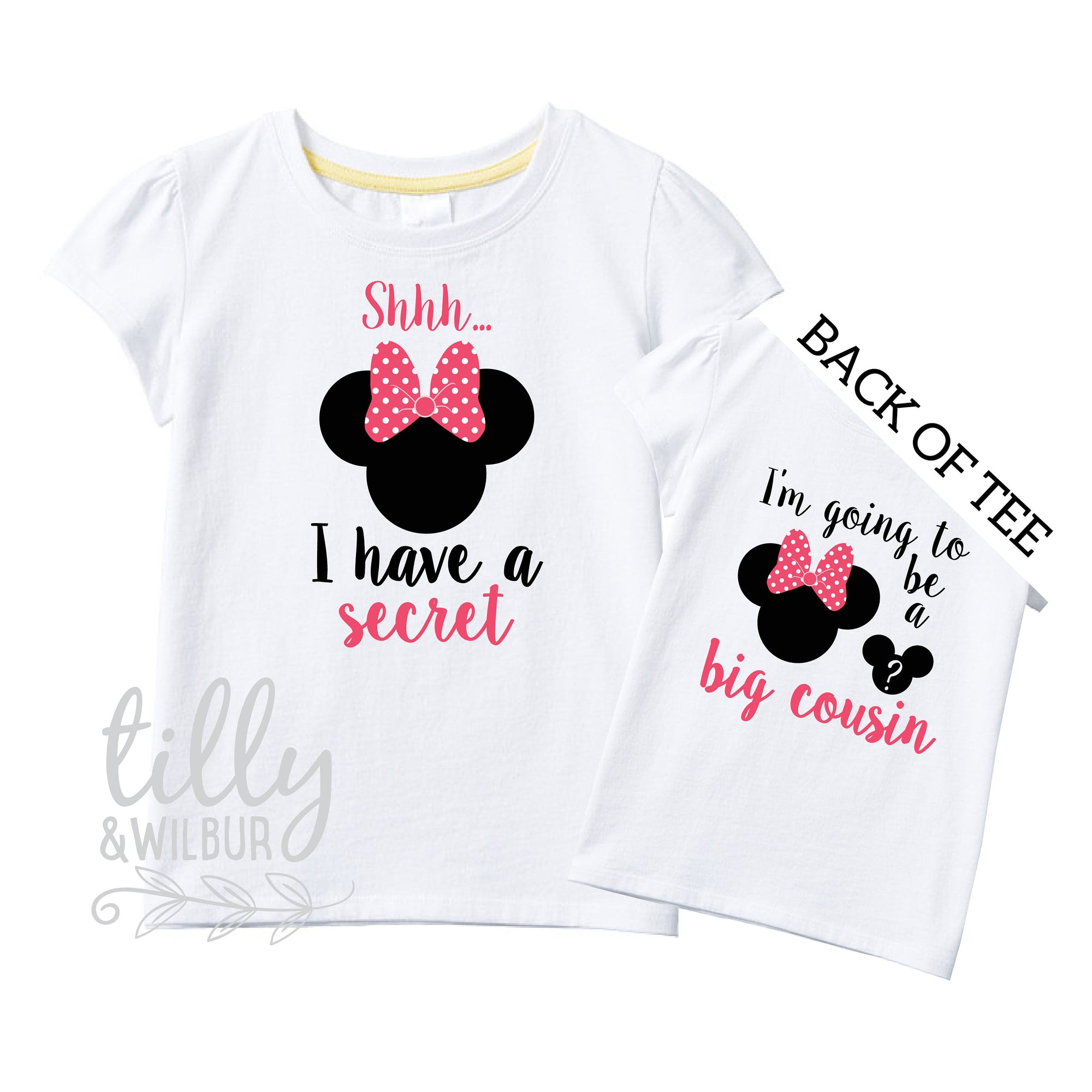 Shhh I Have A Secret I'm Going To Be A Big Cousin TShirt for Girls, Minnie Mouse Design, Big Cousin Shirt, Pregnancy Announcement, G-W-SS-T