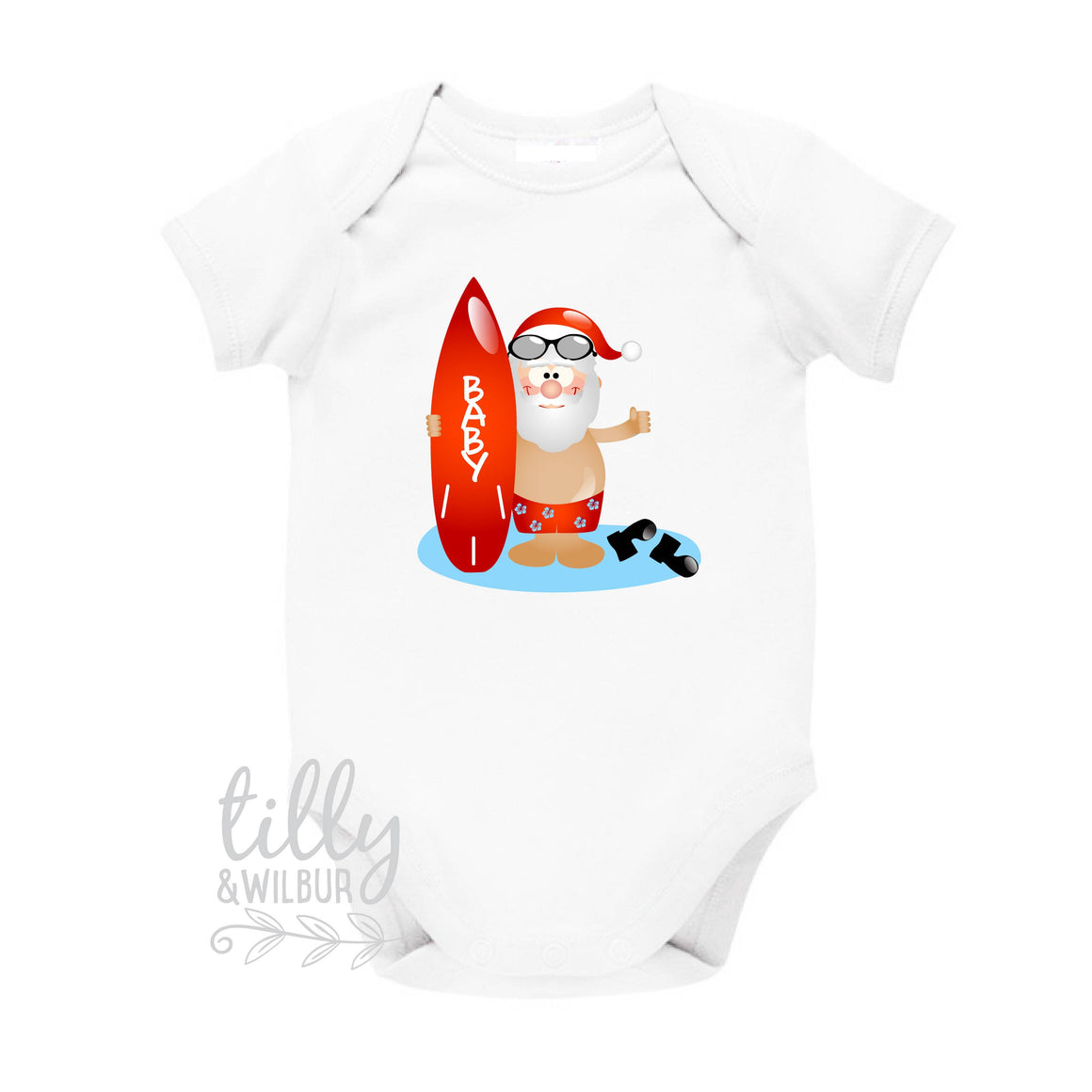 Surfing Santa Personalised Christmas Baby Bodysuit, Aussie Xmas Gift, Australian Summer, Beach Santa With Surf Board, Christmas Overseas,
