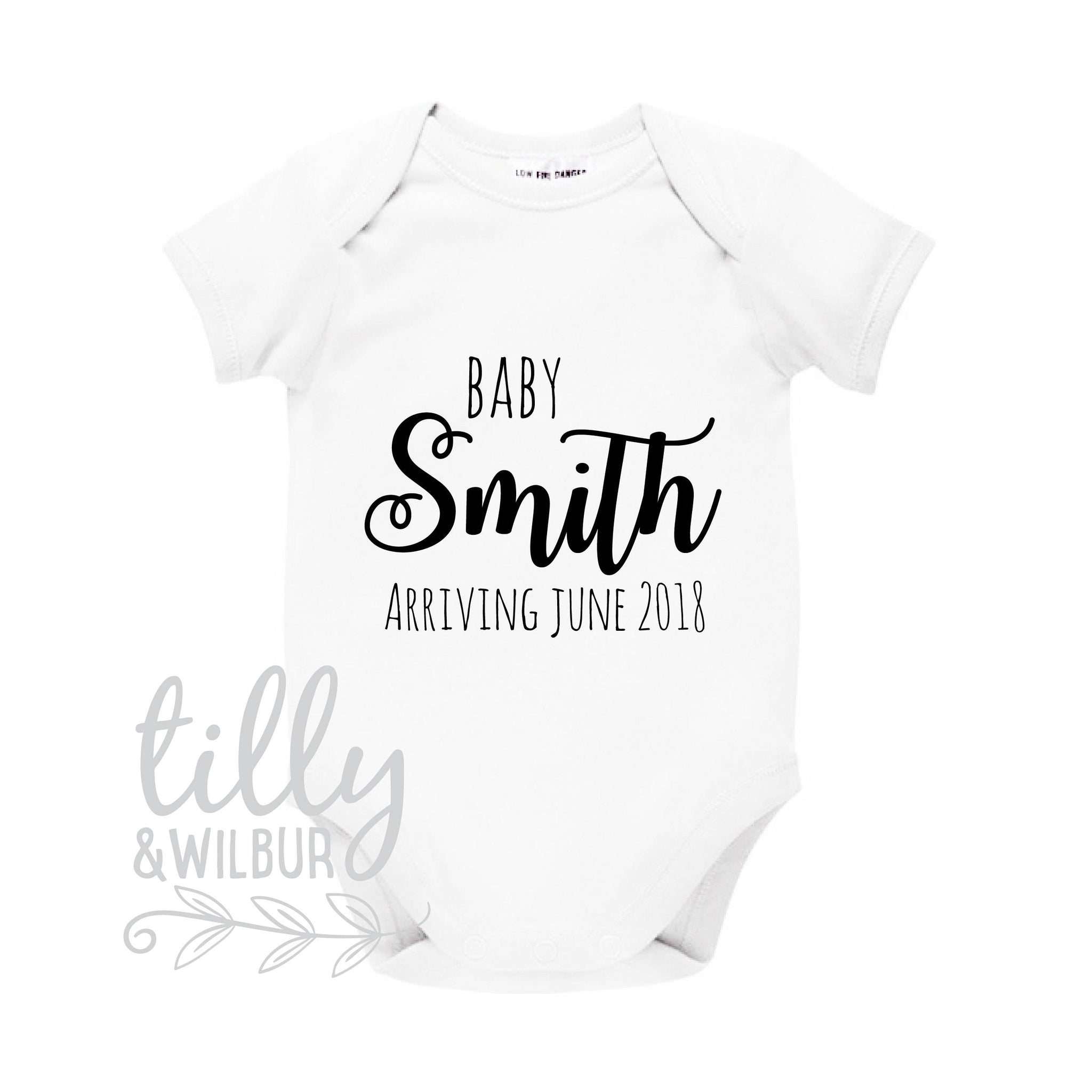 66a45a70 Pregnancy Announcement Baby Bodysuit, Baby Arriving, Personalised With  Surname And Due Date, Announcement