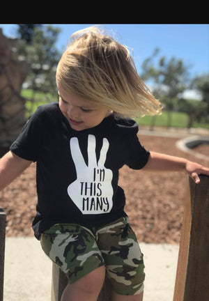 I'm This Many Three Finger Birthday T-Shirt, 3rd Third Birthday Tee, Third Birthday Gift, Boys Third Birthday, Boys Birthday Tee,