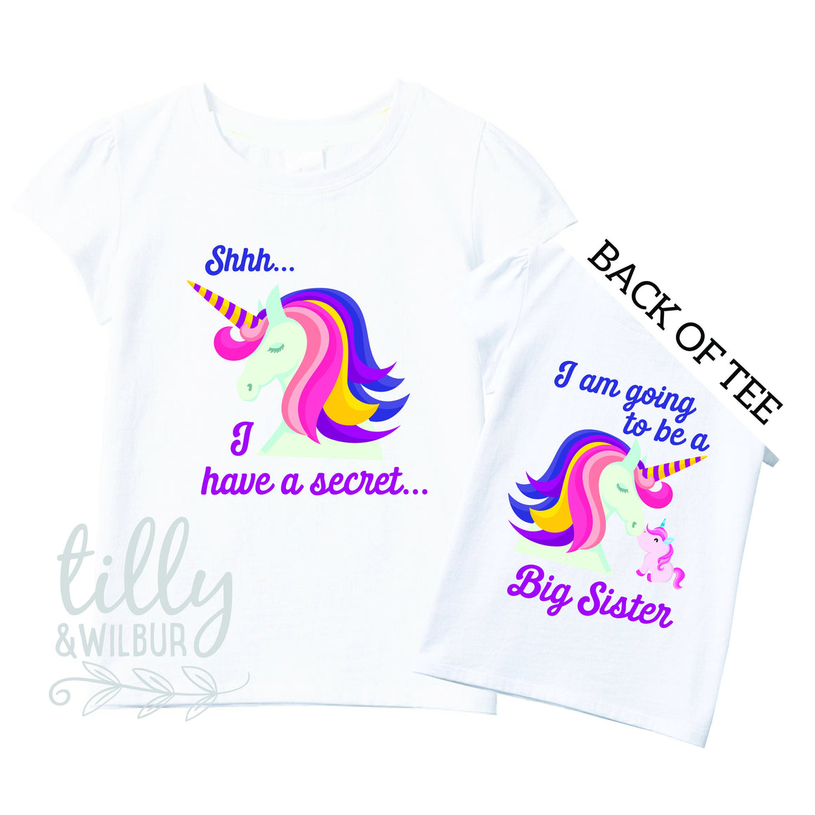 Shhh I Have A Secret I'm Going To Be A Big Sister TShirt for Girls, Unicorn Design, Big Sister Shirt, Pregnancy Announcement, G-W-SS-T
