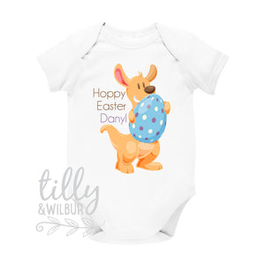 Personalised Easter Baby Bodysuit, Australian Easter, Newborn Easter Gift, Australiana Kangaroo Hoppy Easter, Baby's 1st Aussie Easter