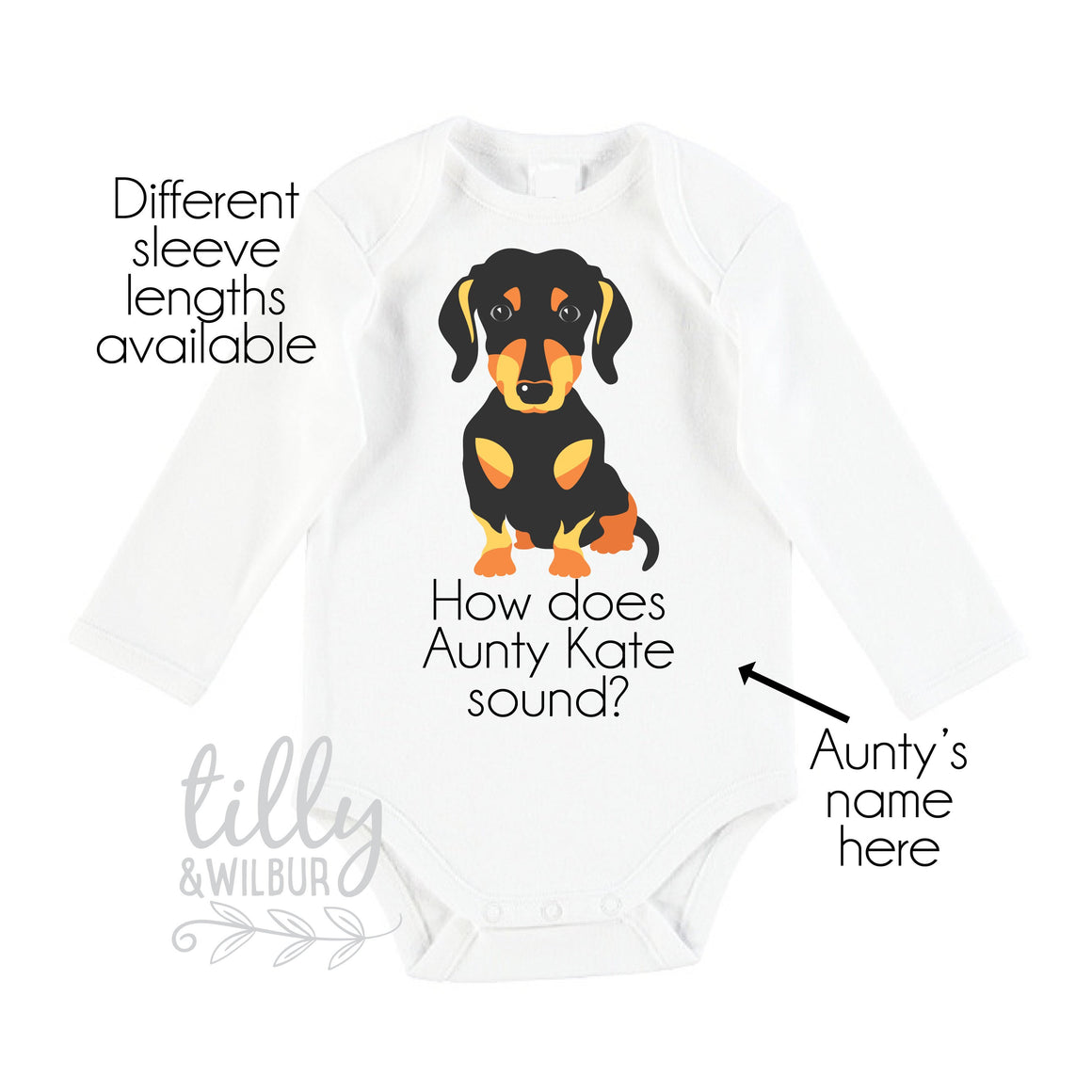 How Does Aunty Sound? Personalised Pregnancy Announcement, You're Going To Be An Auntie For Sister Aunt Auntie, Dachshund Sausage Dog