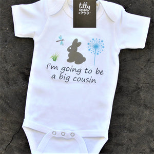 I'm Going To Be A Big Cousin Baby Bodysuit, Bunny Rabbit One-Piece For Baby Girl Or Boy, Baby Clothes, Pregnancy Announcement Romper, U-W-BS