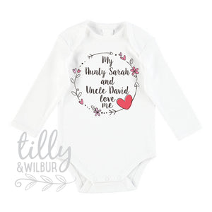 My Aunty And Uncle Love Me Baby Bodysuit For New Arrival Nieces And Nephews, Newborn Gift, Auntie Uncle Gift, Personalised Baby Gift, U-W-BS