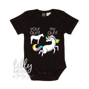 Your Aunt My Aunt Baby Bodysuit, Unicorn Bodysuit, Baby Shower Gift, Unicorns Do Exist, Black Romper, Funny Baby Gift, Niece Nephew Gift