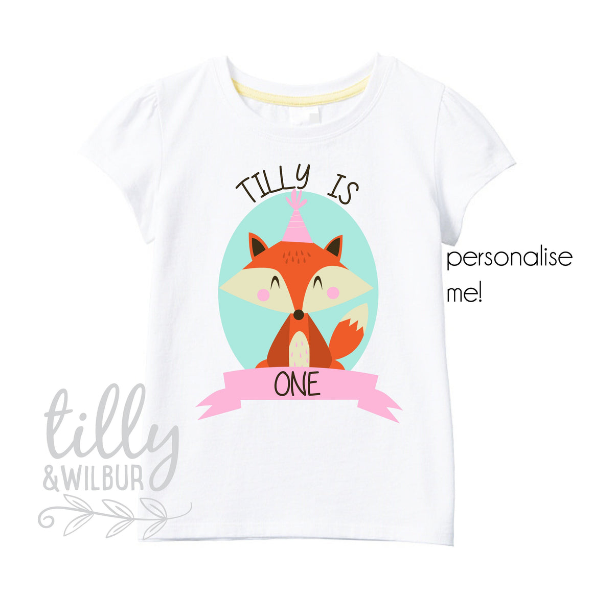 Personalised Girls One Birthday T-Shirt, Girls 1st Birthday Gift, First Birthday Tee, Pink And Mint Fox Design, Cake Smash Outfit