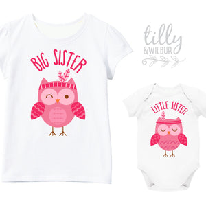 Big Sister Little Sister Owl Set, Matching Sister Outfits, Matchy Matchy Sister T-Shirts, Big Sister Shirt, Baby Shower Gifts, Sister Tees