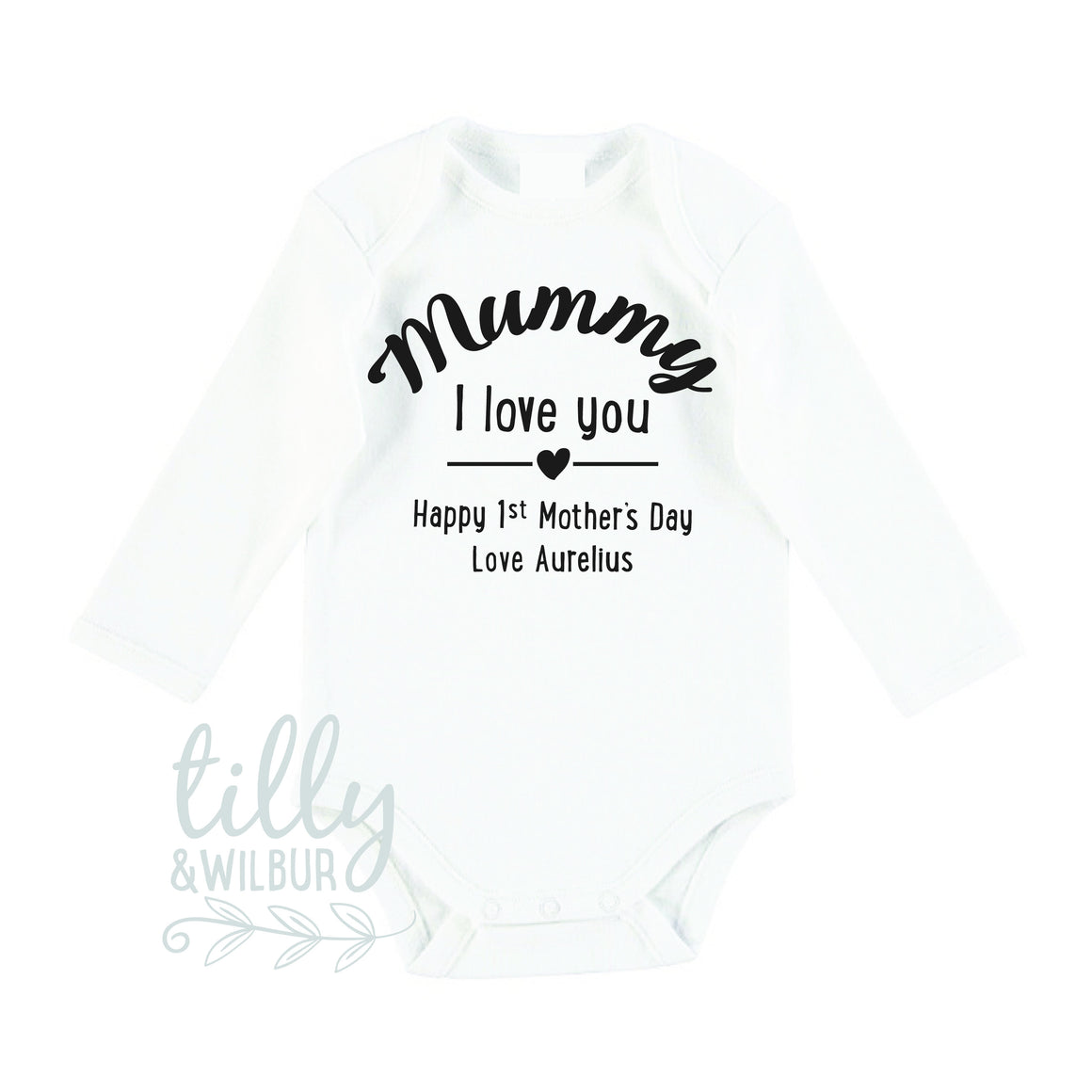 0024db1a Mummy I Love You Happy First Mother's Day Personalised Baby Bodysuit ...