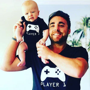 Player 1 Player 2, Father Son Matching Shirts, Matching Dad Baby, Twin Outfits, Sibling Set, Gaming, Father's Day Gift, Christmas Gift