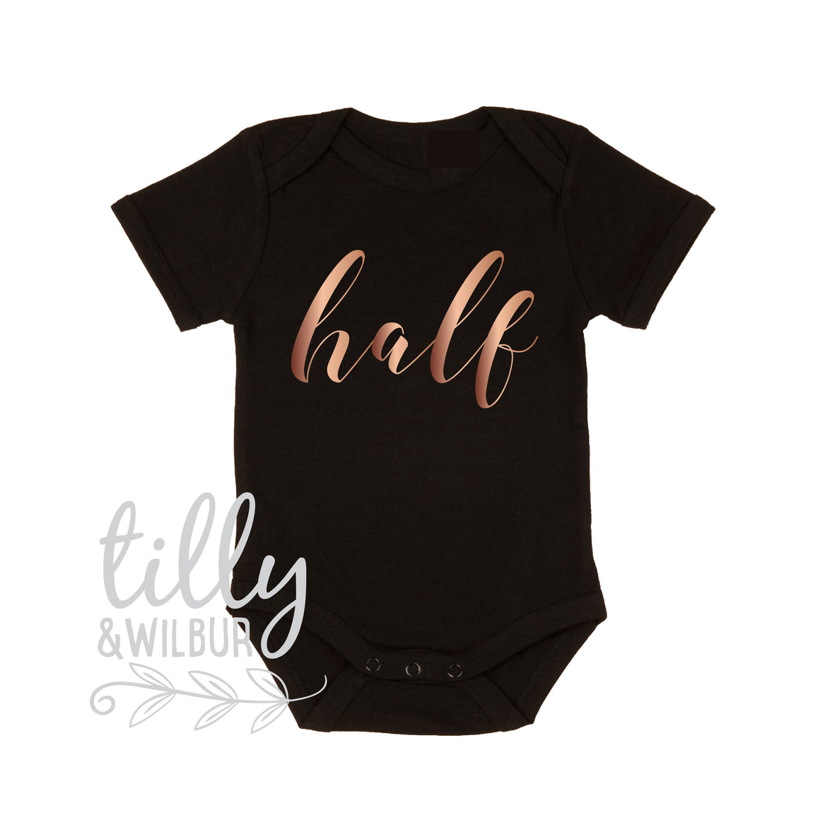 Half Birthday Baby Bodysuit, It's My Half Birthday, Script Design, Rose Gold, Baby Girl's Clothing, 6 Month Photoshoot Outfit, Milestone