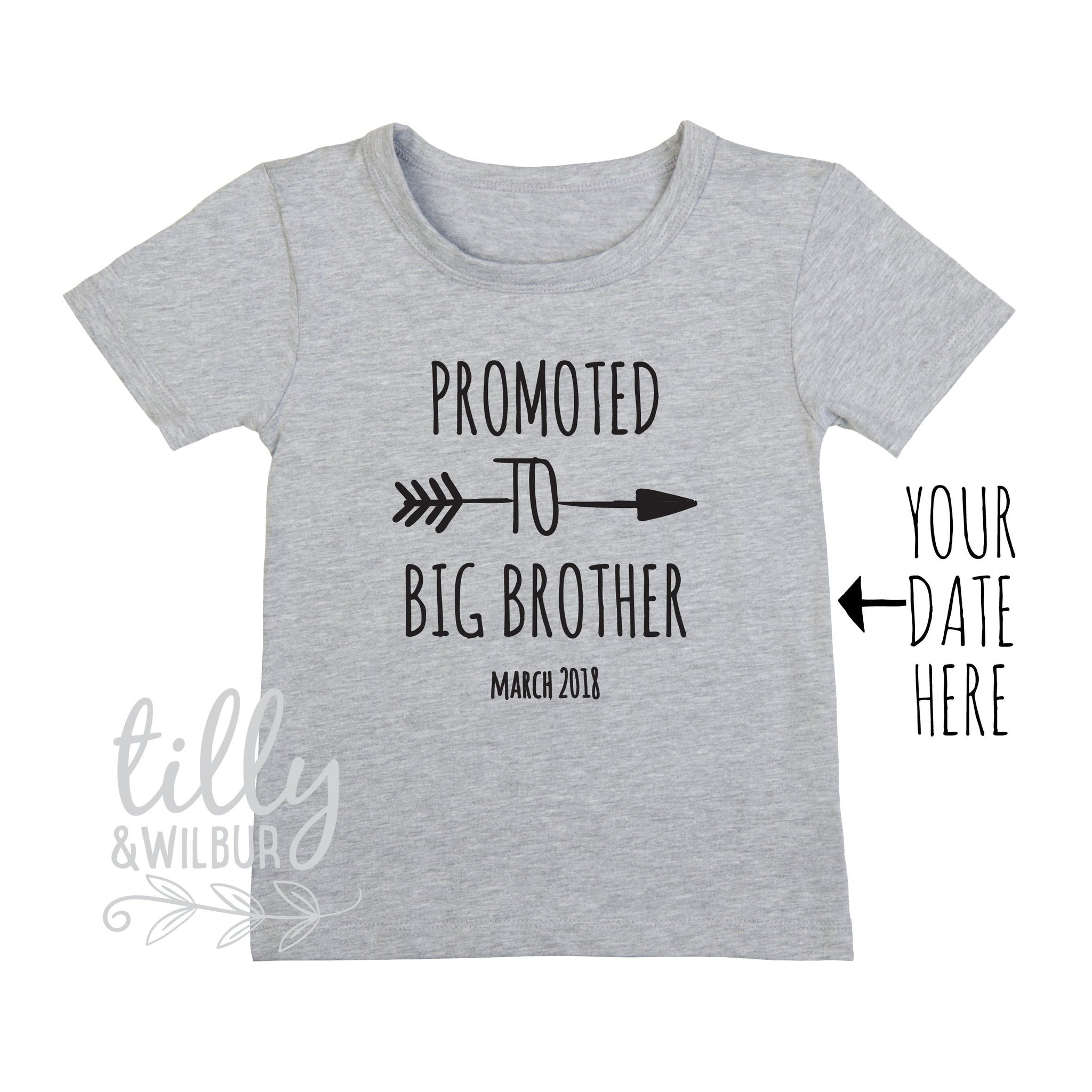 18259bebb Promoted To Big Brother T-Shirt For Boys, Personalised Due Date, Big Brother