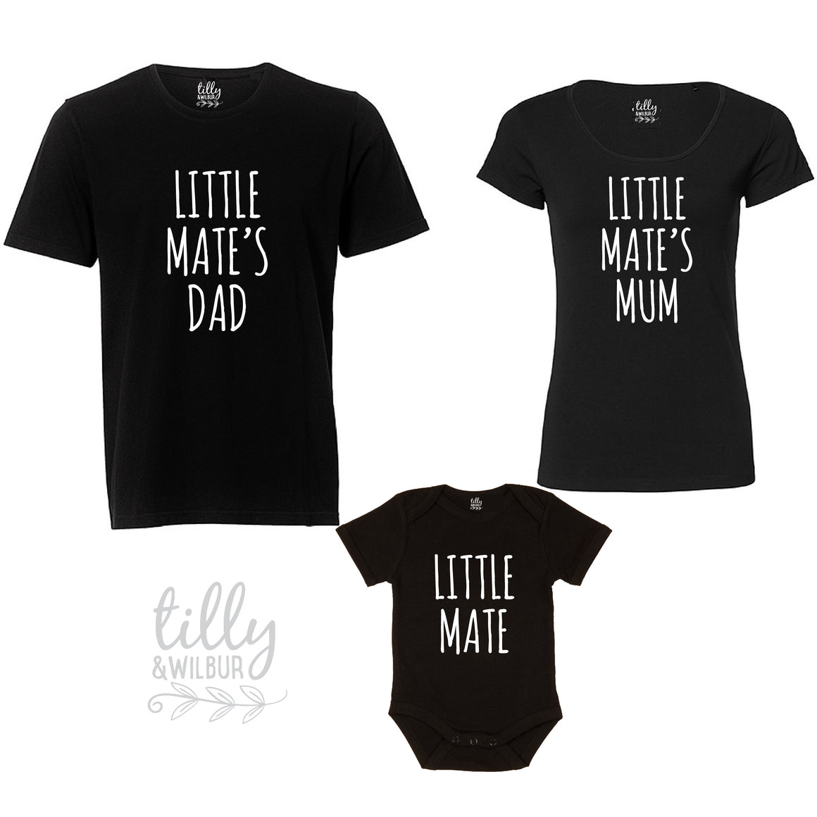 Matchy Matchy Little Mate Set, Little Mate, Little Mate's Dad, Little Mate's Mum, Matching Family Outfits, New Baby Gift, New Parents Gift