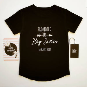 Promoted To Big Sister Personalised Pregnancy Announcement T-Shirt For Girls Aged 0-16, Big Sister Shirt, Big Sister Tee, Sister Outfit