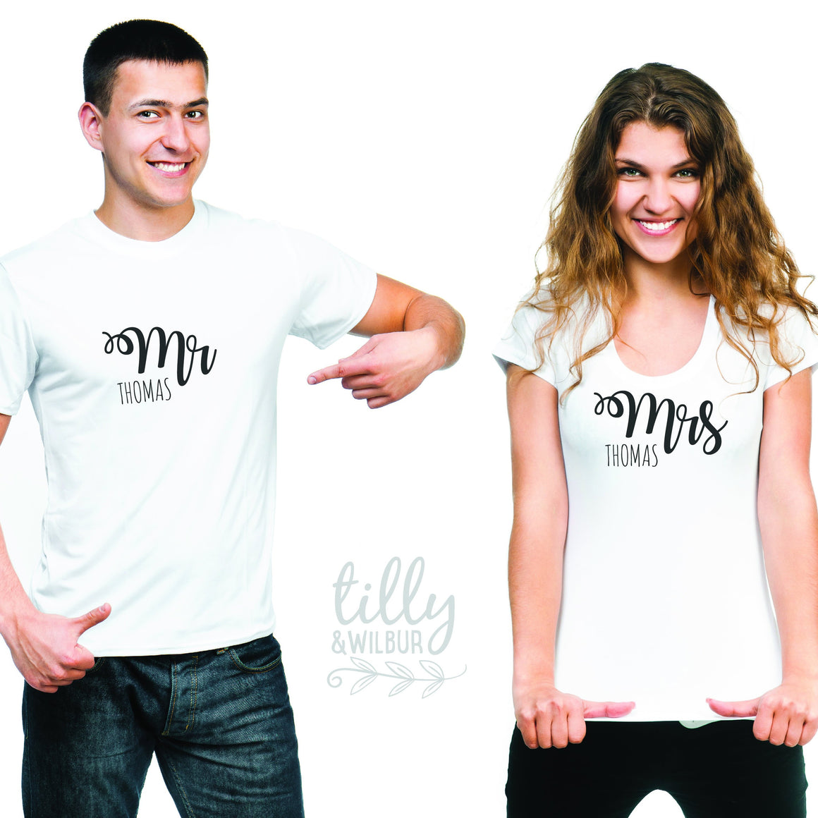 Mr and Mrs Personalised Matchy Matchy T-Shirt Set, Honeymoon Outfits, Wedding Gift, His and Hers Matching Clothing, Mr and Mrs With Surname