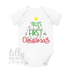 Personalised 1st Christmas Outfit With Baby's Name, First Xmas Baby Bodysuit, Unisex Baby Clothes, Personalised New Baby's First Christmas