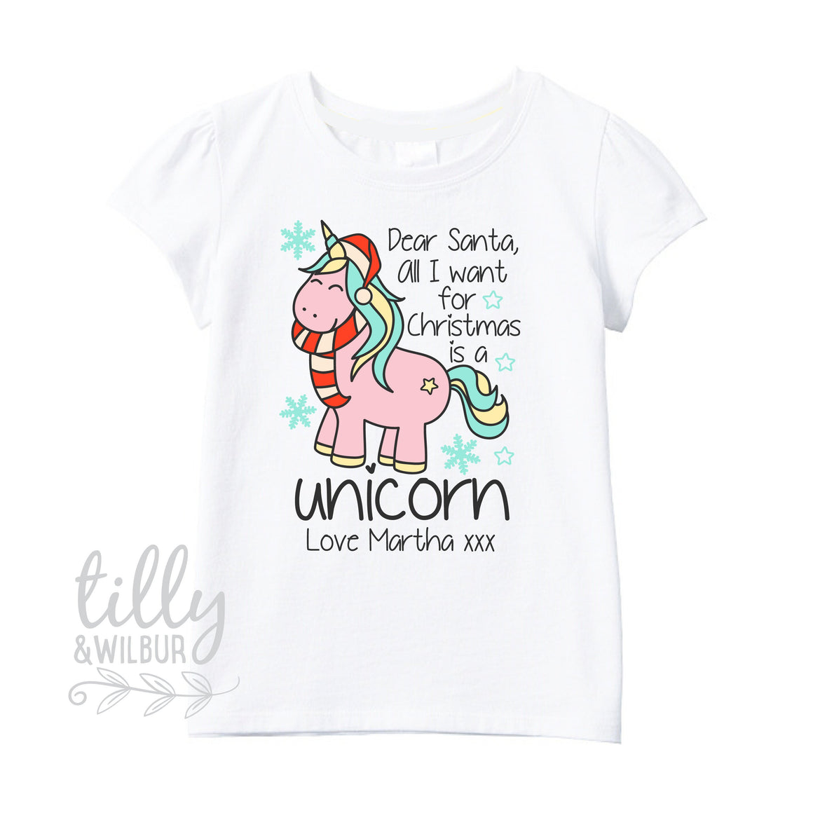 Dear Santa, All I want For Christmas Is A Unicorn T-Shirt For Girls, Unicorn, Unicorn Gift, Christmas Unicorn, Personalised Unicorn T-Shirt