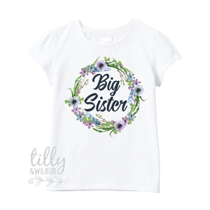 I'm Going To Be A Big Sister T-Shirt For Girls, Pregnancy Announcement Shirt, Personalised Pregnancy Announcement, Floral Big Sister Design
