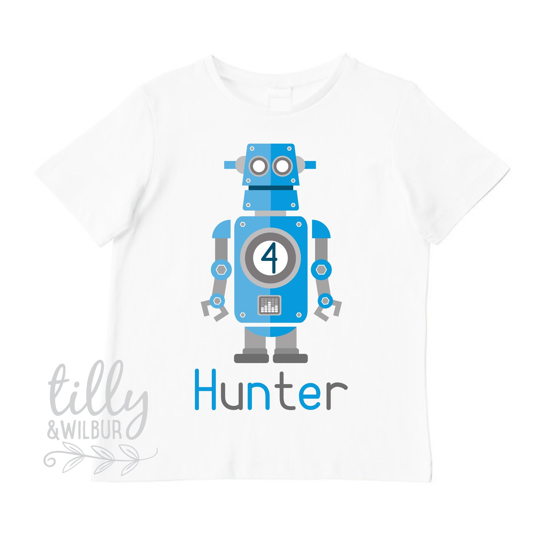 Robot 4th Birthday T Shirt For Boys Tee 4 Year Old