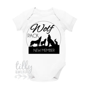 Wolf Pack New Member Pregnancy Announcement Baby Bodysuit, Baby Arriving, Wolf Pack, Growing Tribe, Reveal Outfit, Pregnancy Announcement