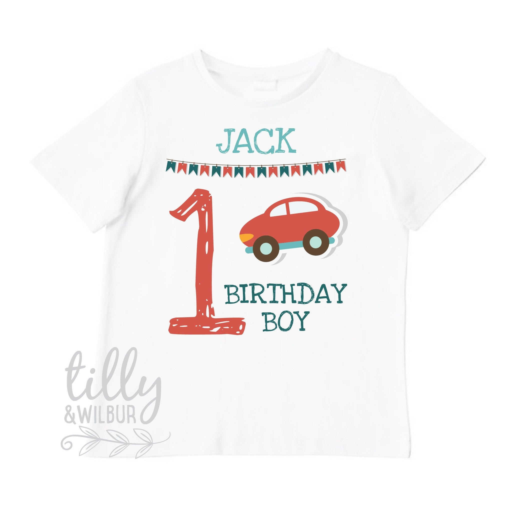 First Birthday T Shirt With Car 1st Baby Boys