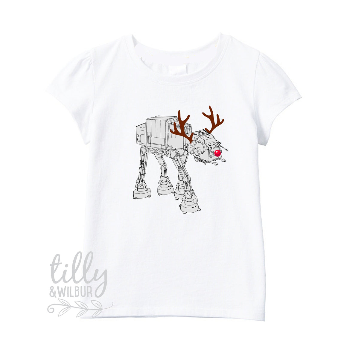 Star Wars AT-AT Walker Christmas Reindeer Girl's T-Shirt, Christmas at at walker, Girl's Xmas Gift, Christmas Walker, Star Wars Girl's Gift