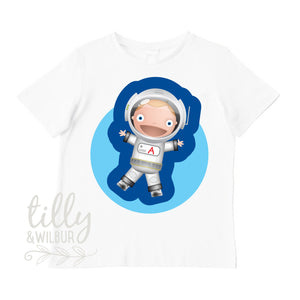 Astronaut T-Shirt For Boys With Personalised Letter, Boys Birthday Gift, Boys Christmas Gift, Personalised Gift For Boys, Personalised Gift