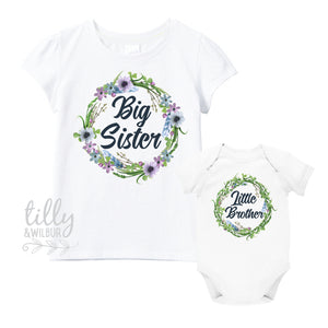 Big Sister Little Brother Set, Matching Sister Brother Outfits, Matchy Matchy Sibling T-Shirts, Big Sister Shirt, Little Brother Bodysuit