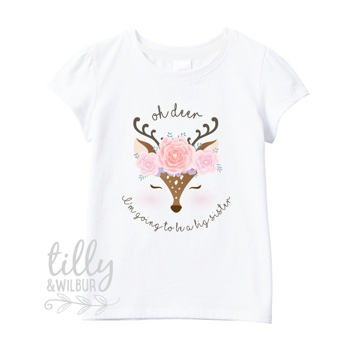 Oh Deer I'm Going To Be A Big Sister T-Shirt For Girls, Pregnancy Announcement Shirt, Pregnancy Announcement, Sister T-Shirt Gift, Deer