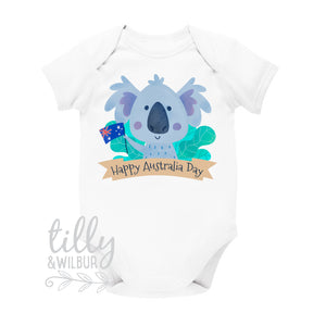 Happy Australia Day Koala Bear Baby Bodysuit, Australia Day, Happy Australia Day, First Australia Day, G'day Little Mate, Australiana, Aus