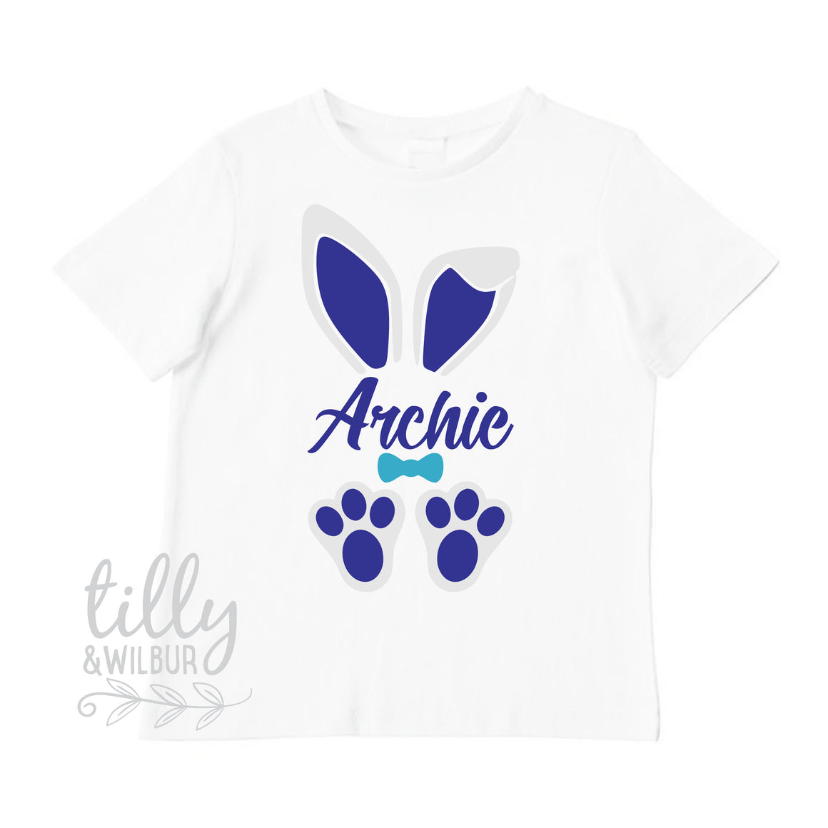 Personalised Easter T-Shirt For Boys, Bunny Ears And Feet, Easter T-Shirt, Boys Easter Gift, Boys Easter Shirt, Hip Hop Boys Easter Clothing