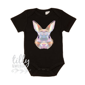 Easter Baby Bodysuit, First Easter Baby Bodysuit, Newborn Easter Gift, 1st Easter Outfit, Baby's 1st Easter, Rabbit, Geometric, Polygonal
