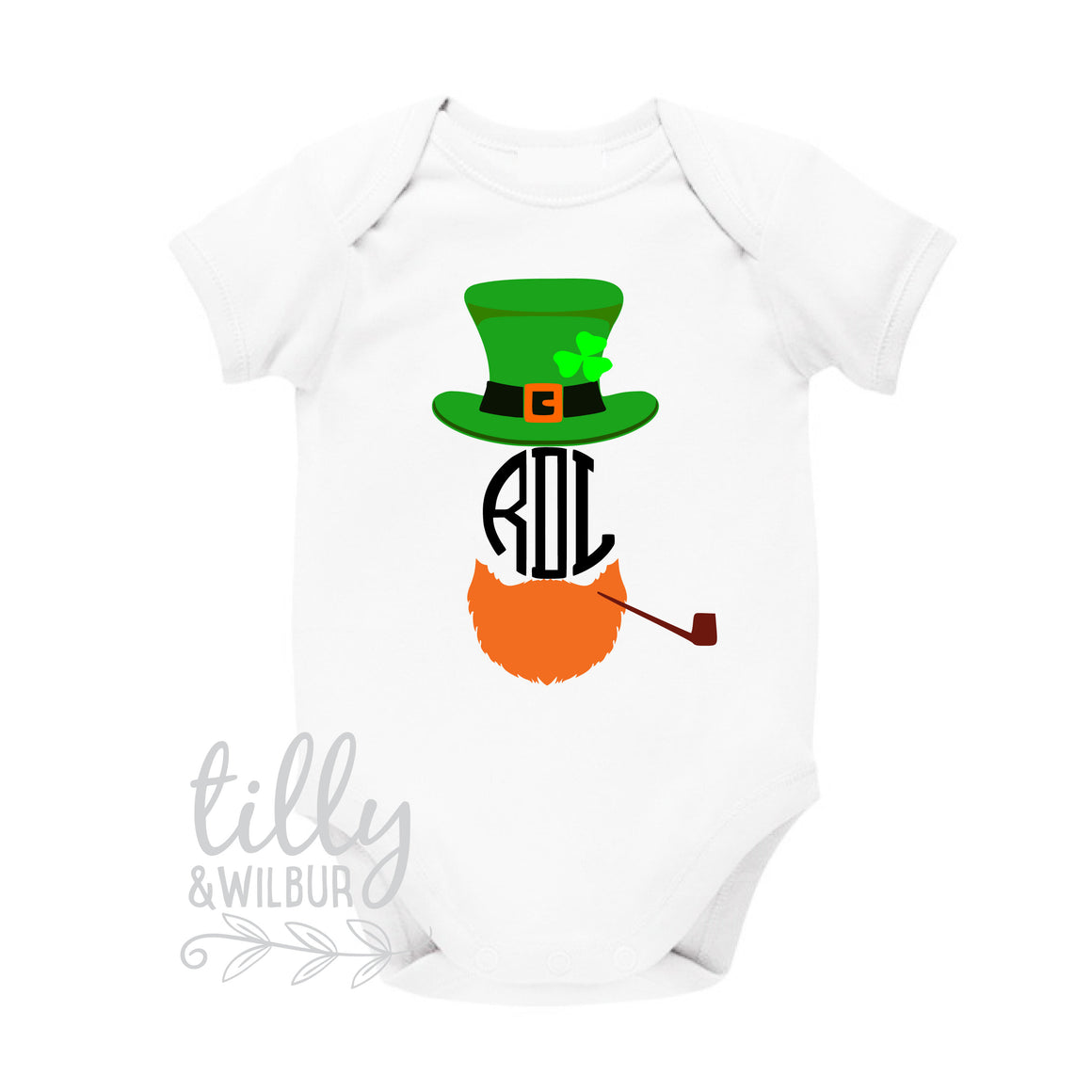 St Patrick's Day Personalised Baby Bodysuit For Boys, St Patrick's Day Baby Outfit With Monogram Initials, Happy St Paddy's Day, Irish
