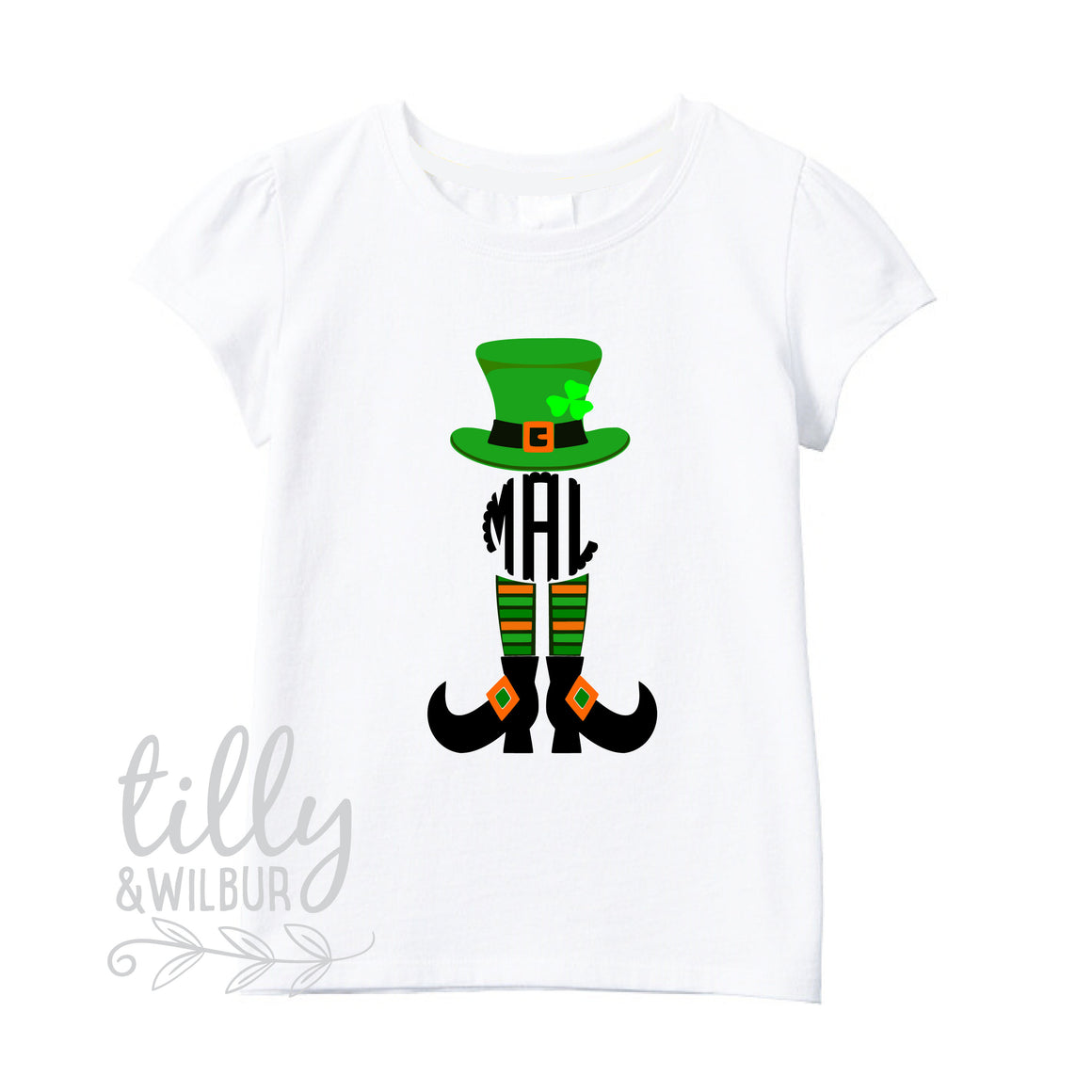 St Patrick's Day Personalised Girls T-Shirt, St Patrick's Day Shirt Personalised With Monogram Initials, Happy St Paddy's Day, Irish, Celts