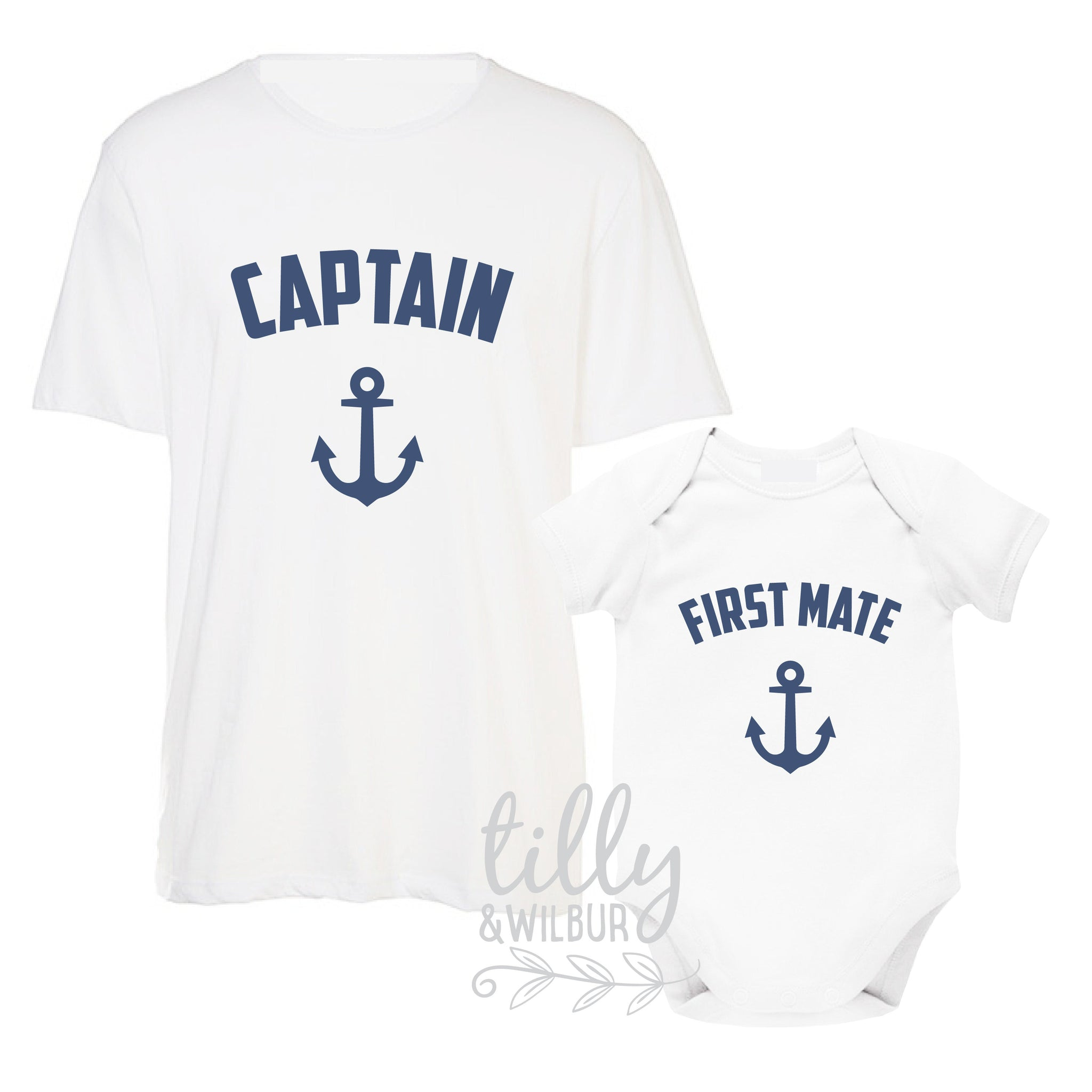 3278744f Captain and First Mate Father Son Matching Shirts, Matching Dad Baby,  Nautical, Father
